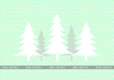 Christmas tree on green dot backgrounds,Design of merry christmas cards Stock Photo