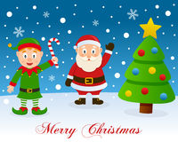 Christmas Tree, Green Elf & Santa Claus Royalty Free Stock Images