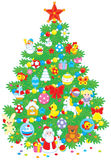 Christmas tree. Green fir decorated with colorful toys and balls to the holiday Royalty Free Stock Photo