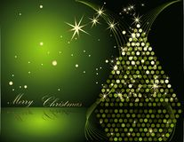 Christmas tree. Green and gold Stock Photo