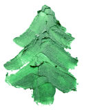 Christmas tree of green paints stroke isolated on the white back. Ground Stock Photography