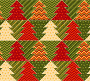 Christmas tree green and red color abstract background. In patchwork style. seamless pattern vector illustration with fir tree. repeatable peasant style patch Royalty Free Stock Images