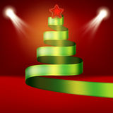 Christmas tree from green ribbon and star. EPS 10 Stock Image