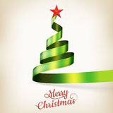 Christmas tree from green ribbon and star. EPS 10 Stock Photo