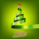 Christmas tree from green ribbon and star. EPS 10 Royalty Free Stock Images
