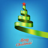 Christmas tree from green ribbon and star. EPS 10 Royalty Free Stock Photography