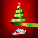 Christmas tree from green ribbon and star. EPS 10 Royalty Free Stock Photo