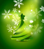 Christmas tree, green shiny abstract background Royalty Free Stock Photos