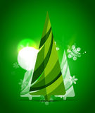 Christmas tree, green shiny abstract background Royalty Free Stock Image