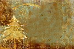 Christmas tree greeting backgrounds. Golden fir tree and star on grunge paper background with copy space Stock Images