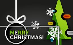 Christmas tree greeting banner, black background. Christmas tree banner, black background. Green Merry Christmas tree and Happy New Year 2018 concept Royalty Free Stock Photo