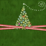 Christmas tree greeting card. Christmas Cards,  cute tree made of stars on green background with blank space for text Royalty Free Stock Photography