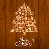 Christmas tree greeting card design Royalty Free Stock Image