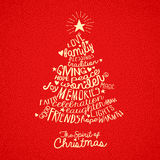 Christmas tree greeting card design. Handwritten word cloud Christmas tree greeting card design Stock Photography