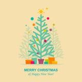 Christmas tree greeting card Stock Photo