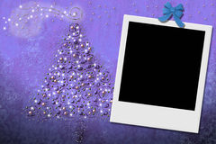 Christmas tree greeting card with instant frame Royalty Free Stock Photos