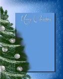 Christmas tree on greeting card letterhead background blue. Christmas letterhead background with evergreen Christmas tree with balls and star on top on blue stock illustration