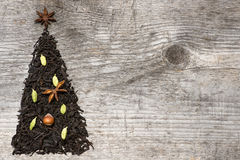 Christmas tree greeting card made of black tea Royalty Free Stock Photo