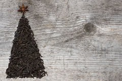 Christmas tree greeting card made of black tea Stock Photo