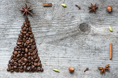 Christmas tree greeting card made of coffee Stock Photos