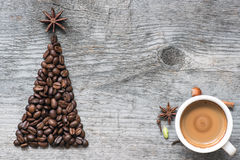 Christmas tree greeting card made of coffee Stock Images