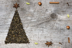 Christmas tree greeting card made of green tea Royalty Free Stock Photo
