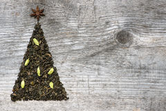 Christmas tree greeting card made of green tea Stock Images