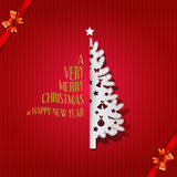 Christmas tree greeting card with merry Christmas & Happy new year, Vector & illustration Royalty Free Stock Photography