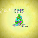 Christmas tree greeting card 2015 Stock Photos
