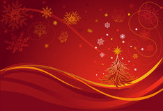 Christmas Tree. Greeting Card. Red Background. Royalty Free Stock Photography