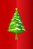 Christmas tree on greeting card Royalty Free Stock Images