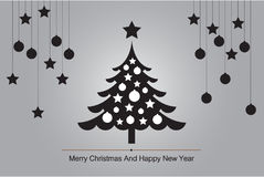 Christmas tree Greeting Card with silhouette vector for background illustration stock images