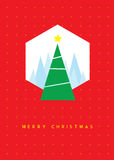 Christmas tree greeting card. Vector illustration Stock Photo