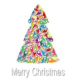 Christmas tree Greeting Card.  Vector illustration. Christmas card template with colored christmas tree and star. Vector illustration Stock Photography