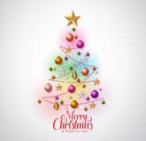 Christmas tree greetings card design with colorful christmas objects Stock Images