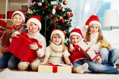 By Christmas tree Stock Photo