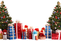 Christmas tree group,  gift box. Stock Photos