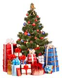 Christmas tree and group gift box royalty free stock photos