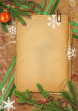 Christmas tree, Grunge papers and snowflake Royalty Free Stock Photos
