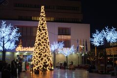 Christmas tree, Fuengirola, Spain. Royalty Free Stock Photo