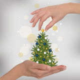 Christmas tree in hand. Female hands are preparing a Christmas tree. Soft light bokeh and stars on the grey background Royalty Free Stock Photos