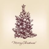 Christmas tree hand drawn Stock Photography