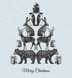 Christmas tree. Hand drawn animal mirror print Royalty Free Stock Photos