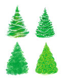 Christmas tree hand drawn set Royalty Free Stock Photo