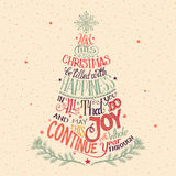 Christmas tree hand-lettering. Vintage hand-lettering Christmas tree greeting card Stock Images