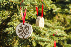 Christmas tree with hand-made decorations Stock Photos