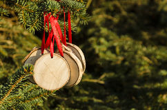 Christmas tree with hand-made decorations Royalty Free Stock Photo