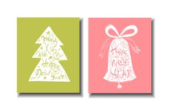 Christmas tree with handdrawn lettering inside. Royalty Free Stock Image