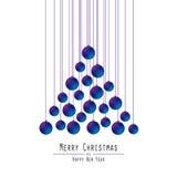 Christmas Tree. Handing Balls. Blue . royalty free illustration