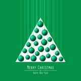 Christmas Tree. Handing Balls. Green. vector illustration